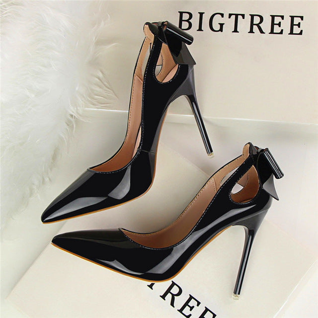 Sexy Cut-Outs Bowtie Pointed Toe Office Shoes