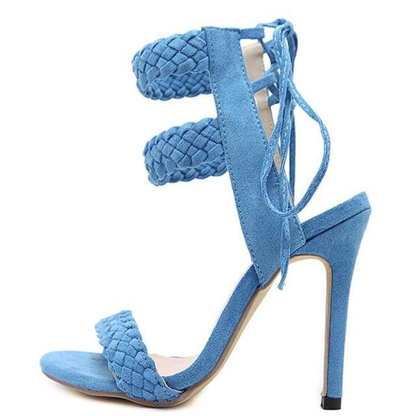 Sexy Woven Cross Strap Party High Heels