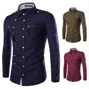 Trendy Men Long Sleeve Shirt Cotton   M-2XL