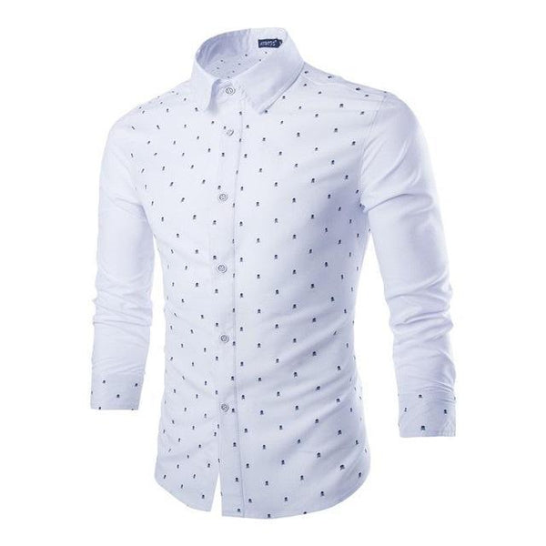 Mens Cotton Skull Prints Dress Shirts