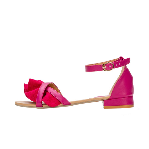 Ruffle Flower Peep Toe Sandals