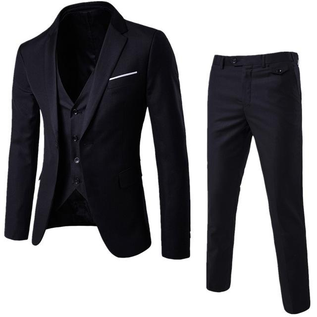S-6XL New Men's Business Casual Slim Blazers 3 Piece Suits (Black)