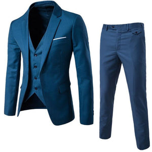 S-6XL New Men's Business Casual Slim Blazers 3 Piece Suits (Blue)