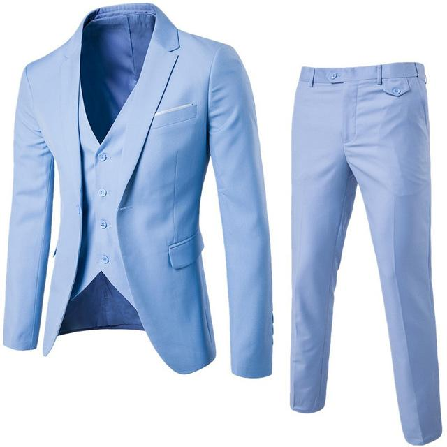 S-6XL New Men's Business Casual Slim Blazers 3 Piece Suits (Light Blue)