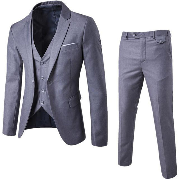 S-6XL New Men's Business Casual Slim Blazers 3 Piece Suits (Light Grey)