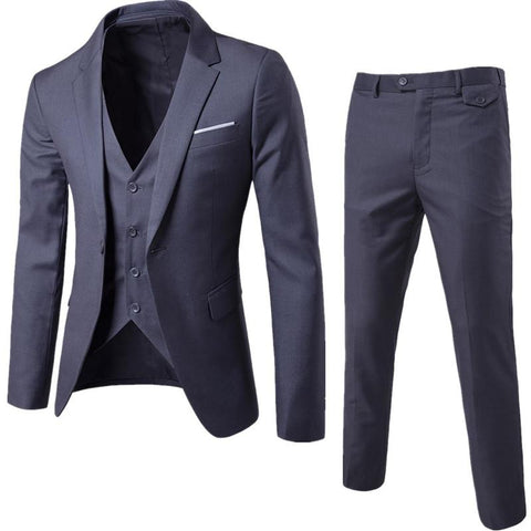 S-6XL New Men's Business Casual Slim Blazers 3 Piece Suits (Deep Grey)