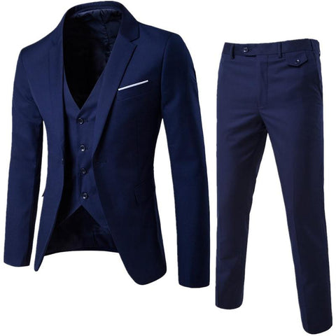 S-6XL New Men's Business Casual Slim Blazers 3 Piece Suits (Dark Blue)