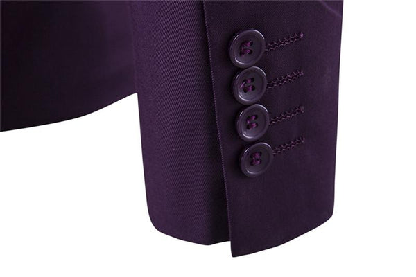 S-6XL New Men's Business Casual Slim Blazers 3 Piece Suits (Purple)