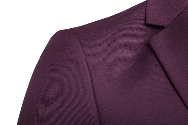 S-6XL New Men's Business Casual Slim Blazers 3 Piece Suits (Deep Red)