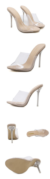 Crystal Open Toed Sexy Thin Heels Slipper