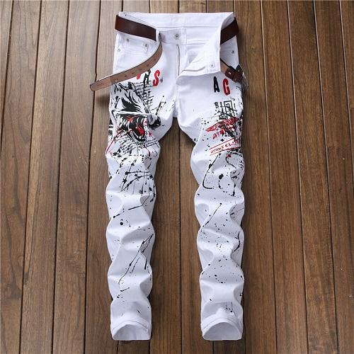 Graffiti Swag Rock White Jeans Pants