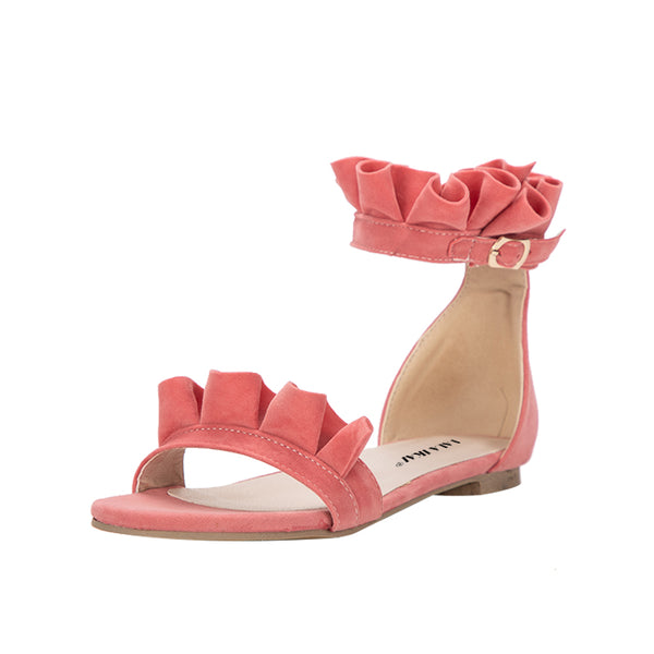Sweet Flower  Ruffles Pleated Flats