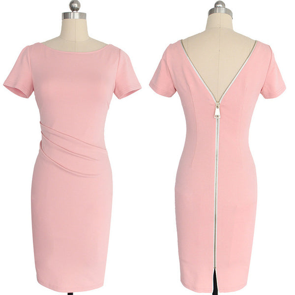 Zipper Back Pencil Office Dress