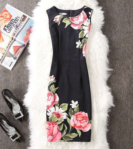Flower Mood Office Pencil Bodycon Dress