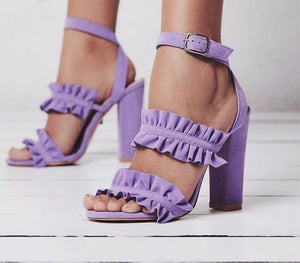Ruffles Women High Heels Buckle Sandals
