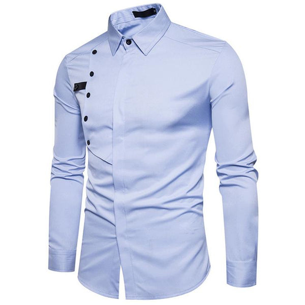 New Single-Breasted Button Design Slim Fit Shirts