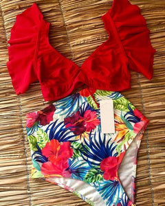 Floral Ruffled High-Waisted Two Piece Swimsuit