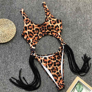 New Sexy Leopard Tummy Cut Out Tassle Swimsuit
