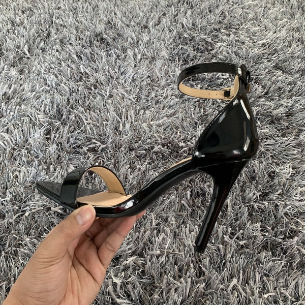 New Ankle Strap Patent Leather Heels