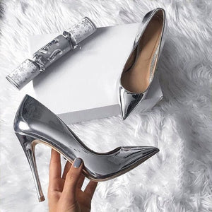 Silver High Heels PU Leather Sexy Heels