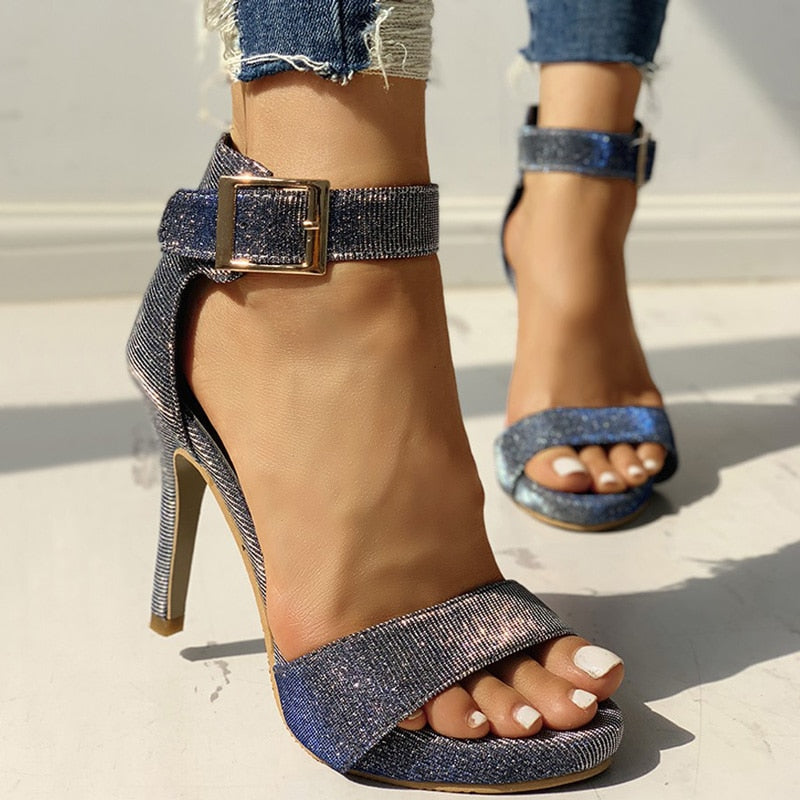 Sexy Peep Toe Sequined Cloth Buckle Heels