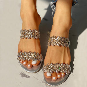 Crystal Bling Beach Slippers Medium Heels