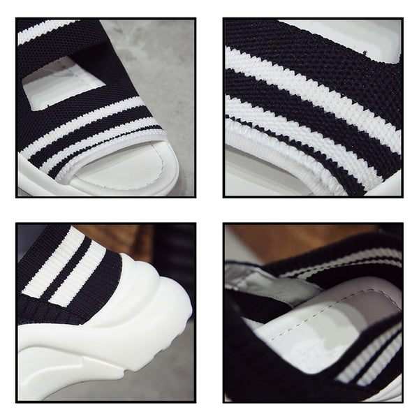 Striped Knitted Sandals Casual Beach Shoes
