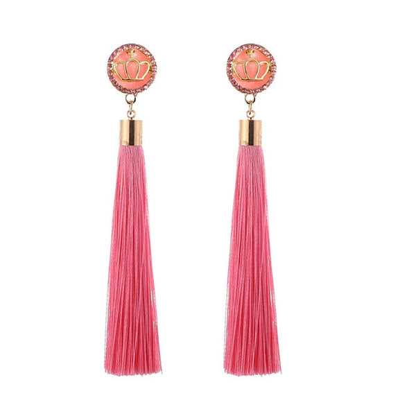 Crystal Flower Fringe Earings