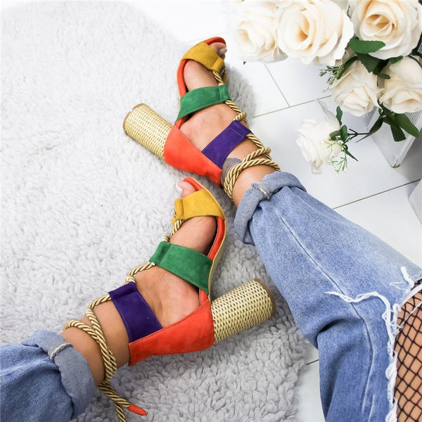 New & Sexy Hemp Lace Up Women Pumps