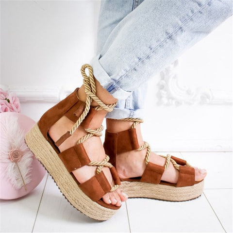 Hemp Lace Up Women Platform Sandals