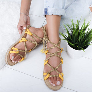 Hemp Lace Up Women Flat Sandals