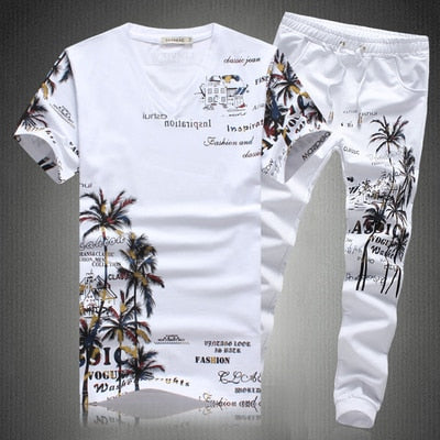 Coconut Island Printing Pants Set for Men