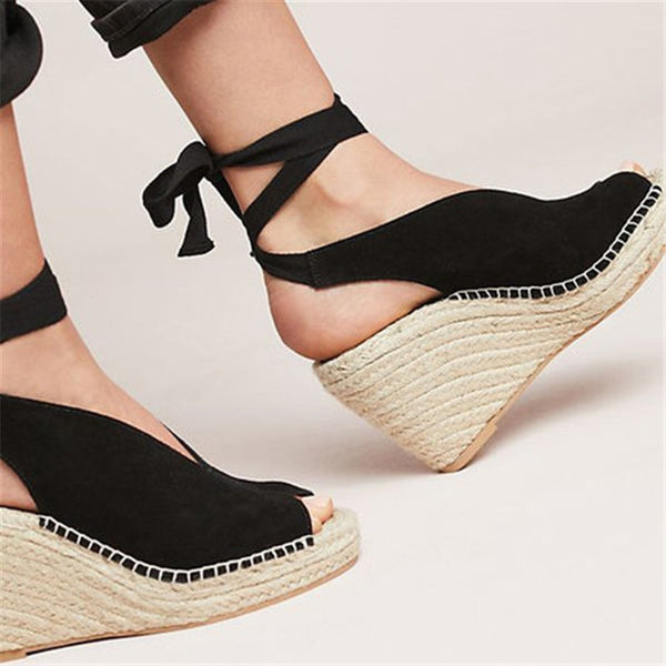 Ankle Strap Sandals Lace Up Pump Slippers