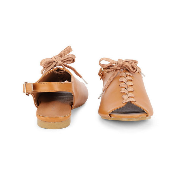 Lace Up Leather Summer Casual Peep Toe