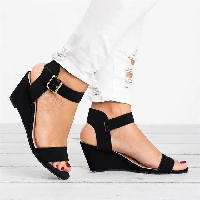 2019 Wedges Buckle Strap Roman Sandals