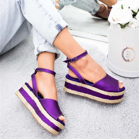 Comfy Platform Leather Strap Open Toe Sandals