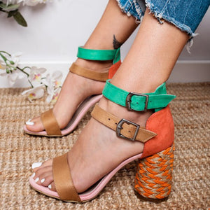 New  Colorful Straw Heel Sandals