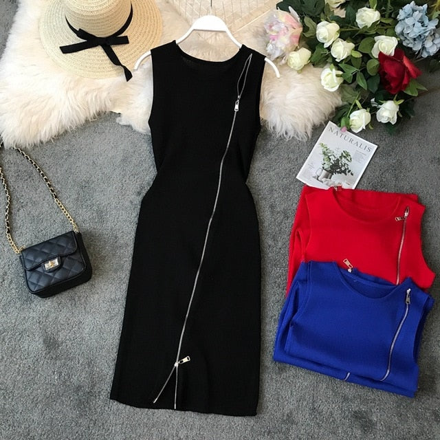 All Zipped Up Knitted Dress