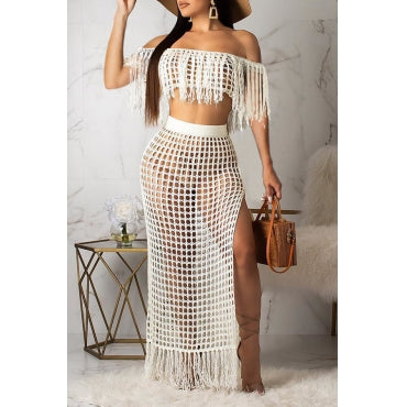 Off The Shoulder Tassel Design Rose Red Cover-up Set