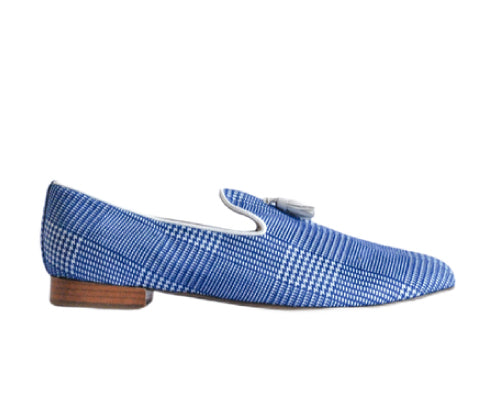 637 Mocassino Blue Tweed with Tassel