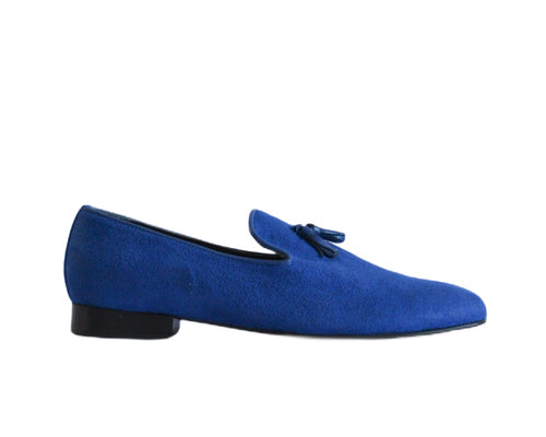 637 Mocassino Blue Suede with Tassel