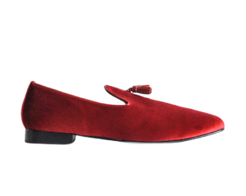 637 Mocassino Red Suede with Tassel