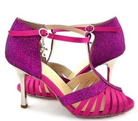 Norma Dance Shoes Fuchsia Satin Glitter