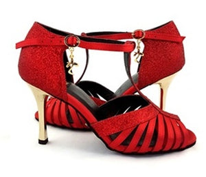 Norma Dance Shoes Red Satin Glitter