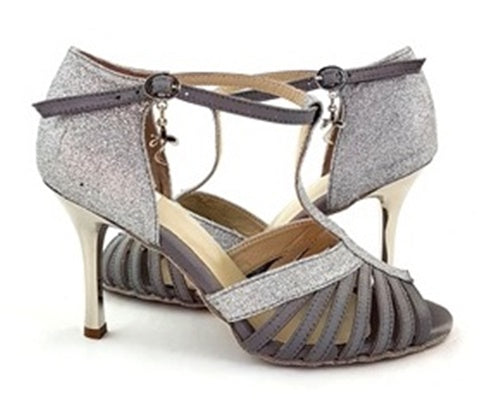 Norma Dance Shoes Silver Satin Glitter