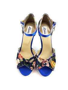 Sirius Dance Shoes Blue Flowered S-L04