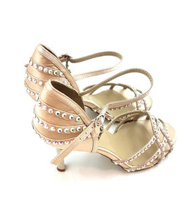 Talita Dance Shoes Cream Satin Swarowski Ornament TS02