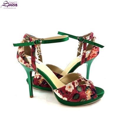 Sirius Dance Shoes Green Flowered S-L07