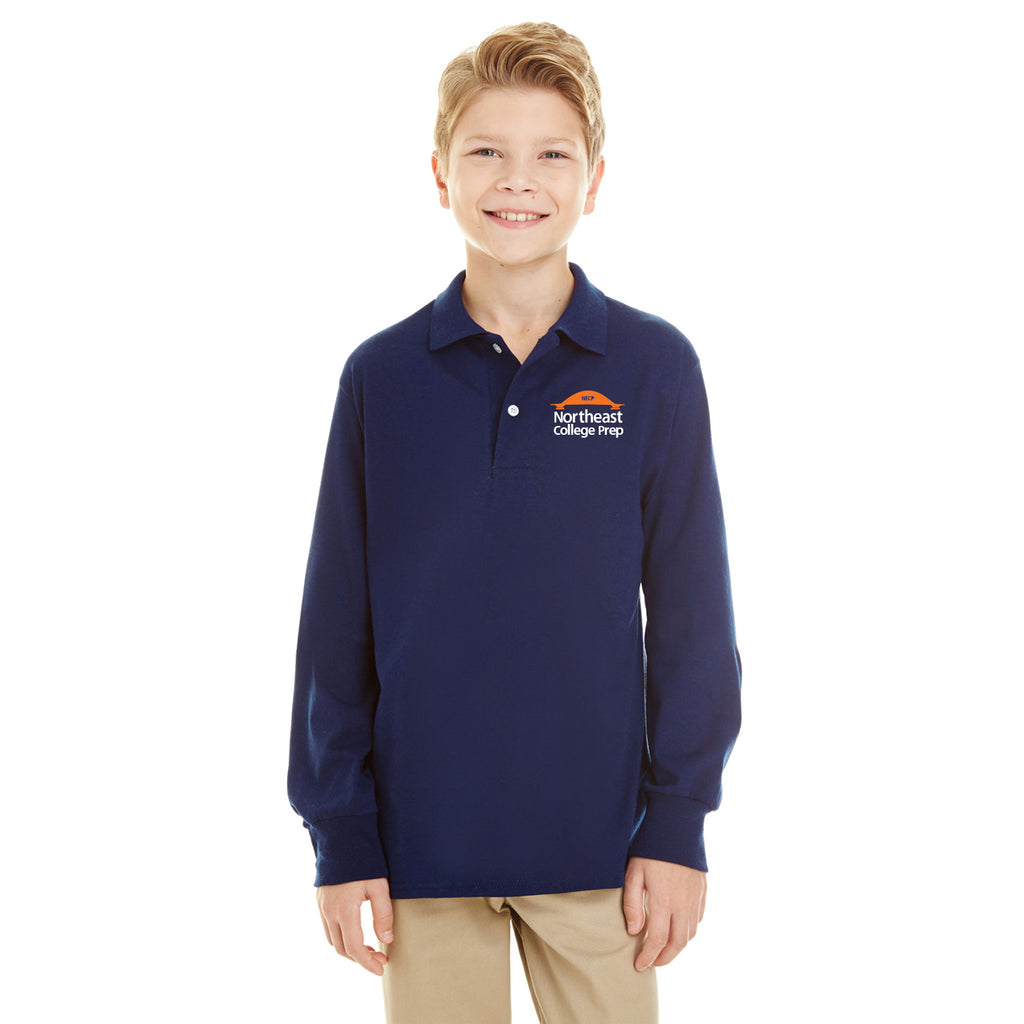 Navy LS Polo