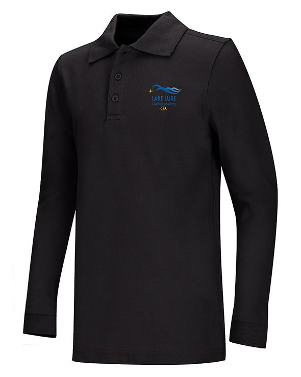 Black Unisex Long Sleeve Pique Polo